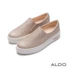 ALDO 時髦休閒原色幾何鬆緊帶夾心厚底鞋~閃耀金色