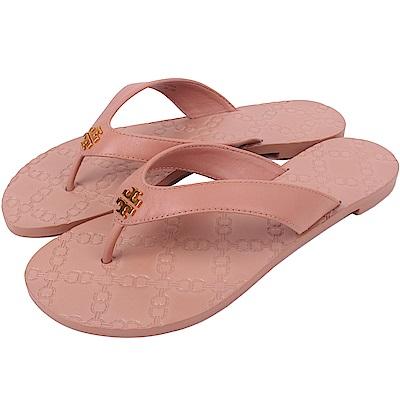 TORY BURCH 經典LOGO夾腳涼拖鞋(淺駝色)