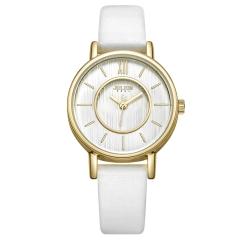 JULIUS聚利時 愛情旋曲內凹錶盤皮錶帶腕錶-白色/31mm