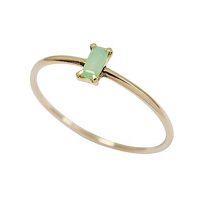 agete日本精品珠寶 方形青綠色石榴石K10金色戒指