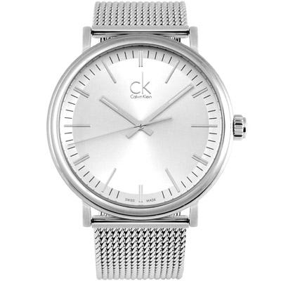cK Surround 經典大三針米蘭腕錶-銀白/43mm