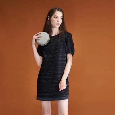 ICHE衣哲 時尚立體質感拼接造型禮服洋裝-黑