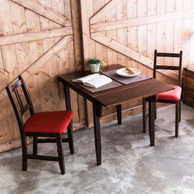 CiS自然行-單邊延伸實木餐桌椅組一桌二椅 74*98公分焦糖+橘紅色椅墊