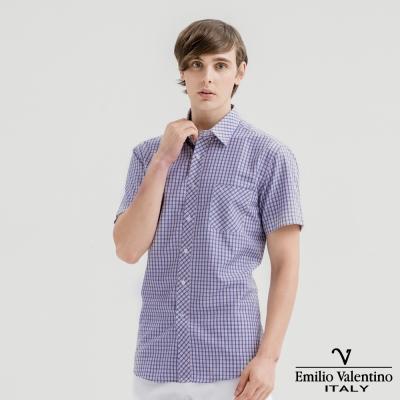 Emilio Valentino范倫提諾英倫簡約短袖襯衫-紅藍格