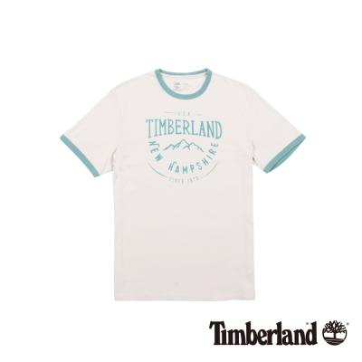 Timberland 男款白底藍綠品牌印花短袖T恤