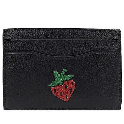 COACH 圖樣造型牛皮簡易式卡片夾(黑/草莓)