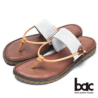 bac舒適真皮舒適鞋底真皮夾腳鞋-白