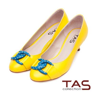 TAS-普普風水鑽撞色雙環扣高跟鞋-亮麗黃