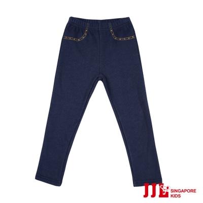 JJLKIDS-口袋亮鑽素色百搭牛仔長褲-牛仔藍