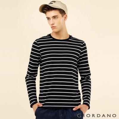 GIORDANO 男裝拼色條紋純棉磨毛圓領長袖T恤 - 24 標誌黑/白條紋色