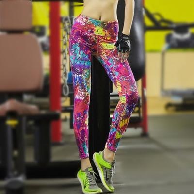 彩色潑漆印花貼腿瑜珈運動長褲-圖片色-SZ-sport