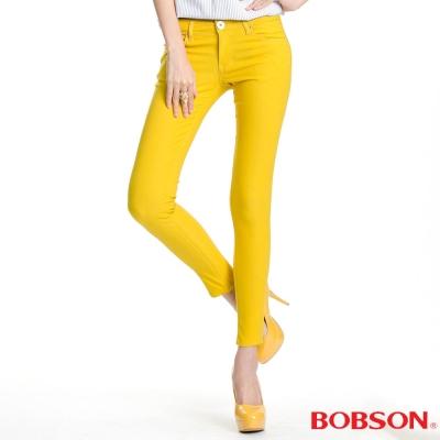 BOBSON 女款彩色強彈力緊身褲(黃31)