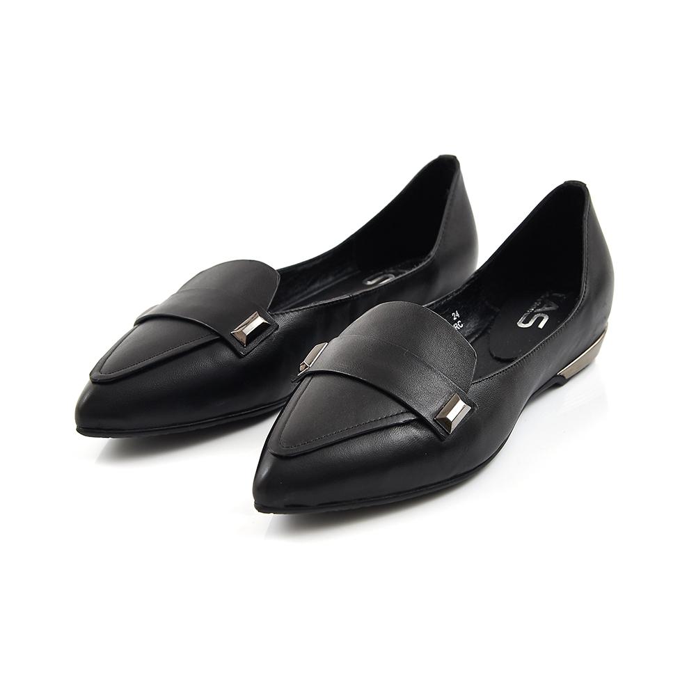 TAS 金屬牛皮一字鉚釘後高尖頭鞋-迷人黑