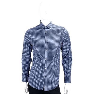 TRUSSARDI JEANS 藍色滿版印花排列長袖襯衫