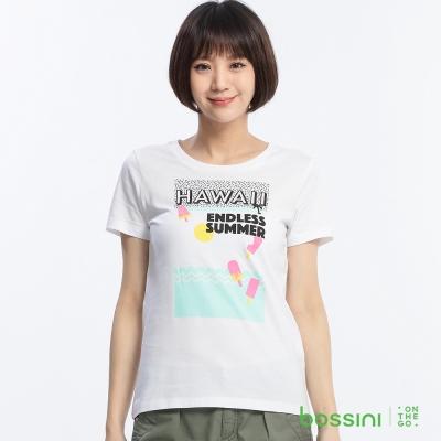 bossini女裝-印花短袖T恤79白