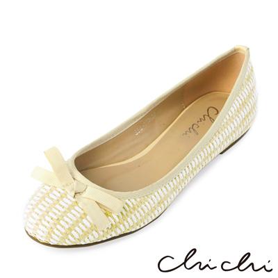 Chichi夏日清甜-可愛麻編舒適平底鞋*卡其色