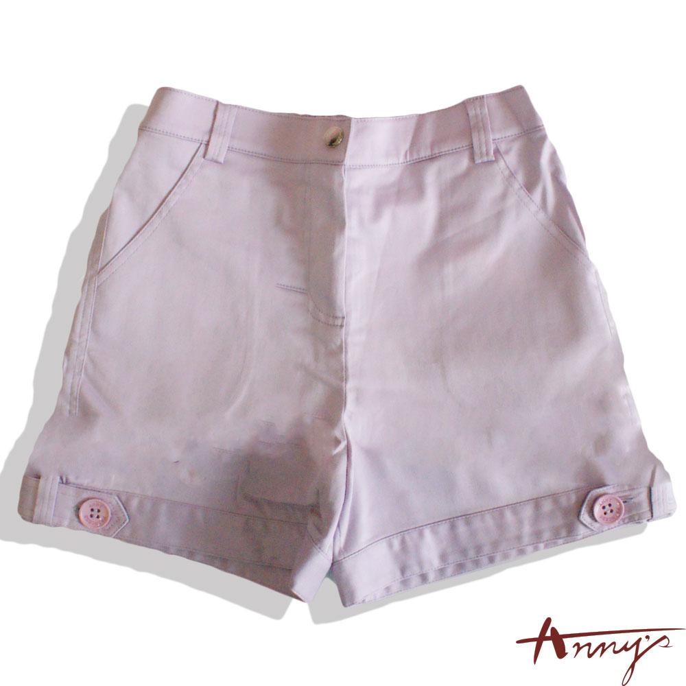Annys活潑素面鈕扣造型反褶短褲*1322紫