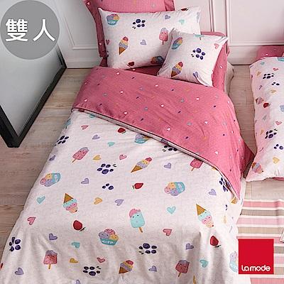 La Mode寢飾 夏日冰紛樂環保印染精梳棉被套床包組(雙人)