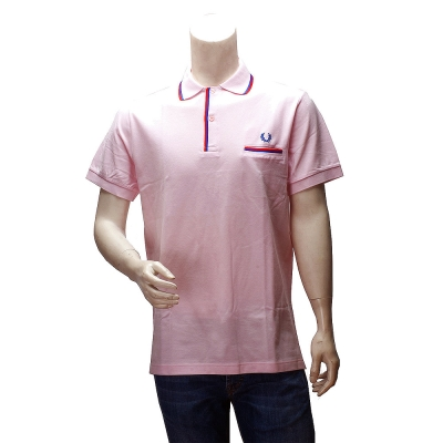 FRED PERRY 經典刺繡LOGO素面雙色線條立領短袖POLO衫(粉紅-46號)