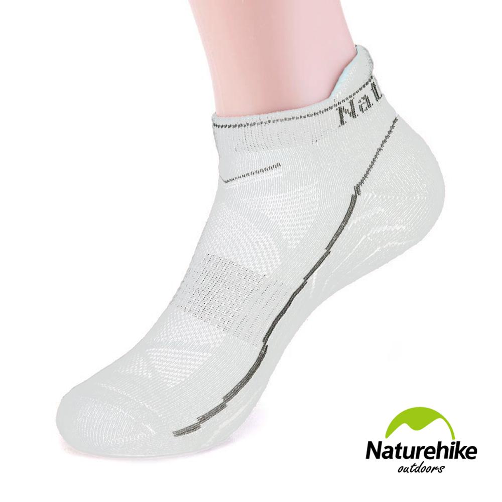 Naturehike 男款運動 加厚機能護踝船型襪 短襪 2入組 白色 - 急速配