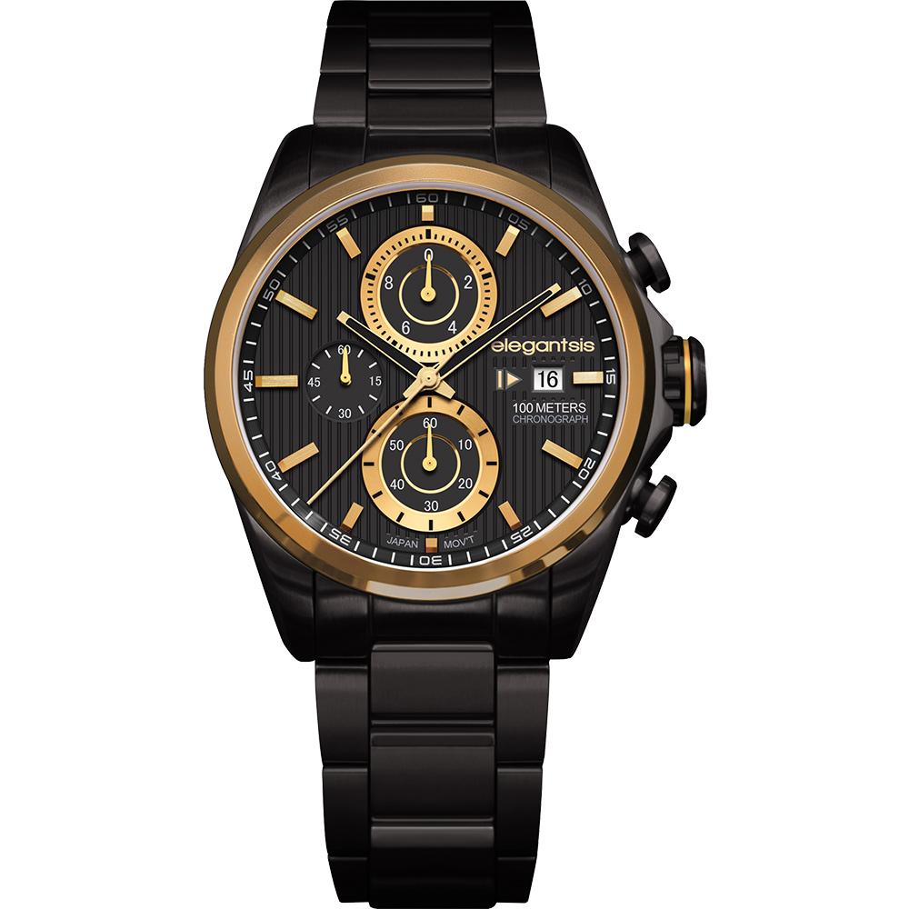 elegantsis Fashion 領先風範三眼計時腕錶-黑x金/45mm