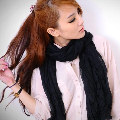 Aimee-Toff-韓版秋冬款純色皺褶加大圍巾-黑
