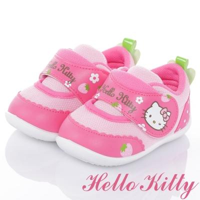 HelloKitty 草莓系列 抗菌防臭減壓防滑學步童鞋-桃