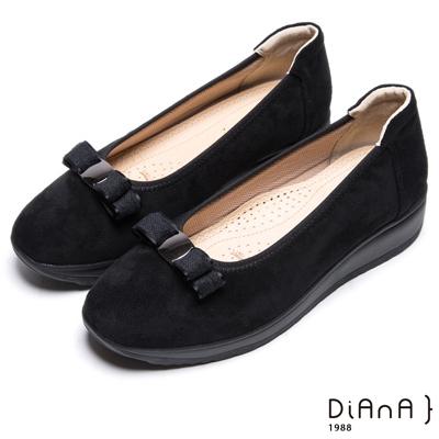 DIANA 漫步雲端焦糖美人款--蝴蝶結厚底透氣楔型鞋-黑