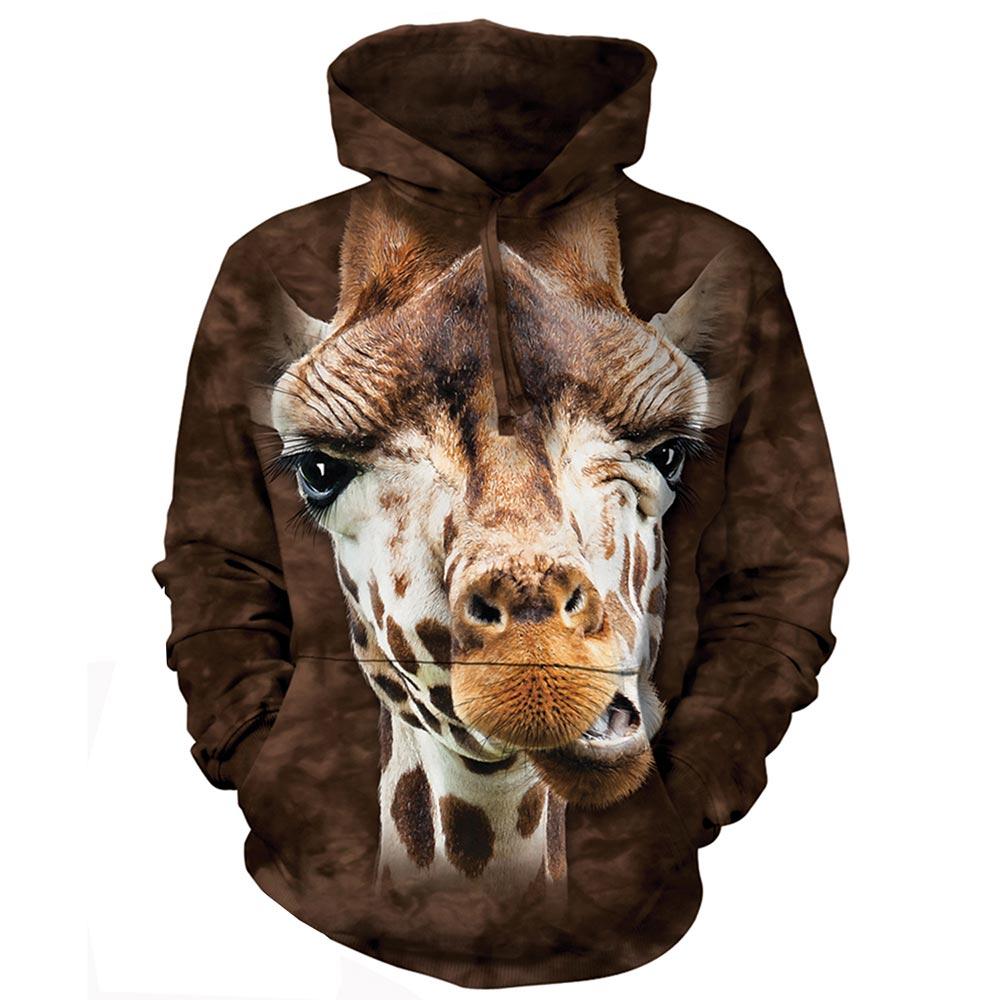 摩達客 美國進口The Mountain 長頸鹿 套頭套頭長袖連帽T恤