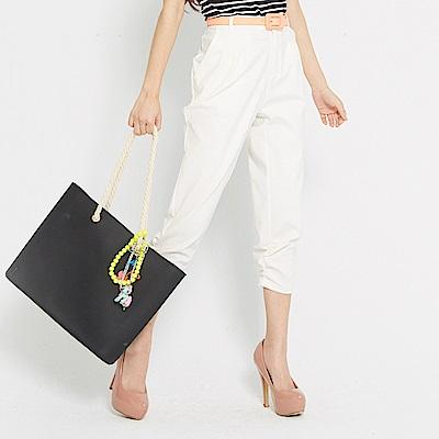 【TOP GIRL】打褶設計下擺抓皺七分褲-米白