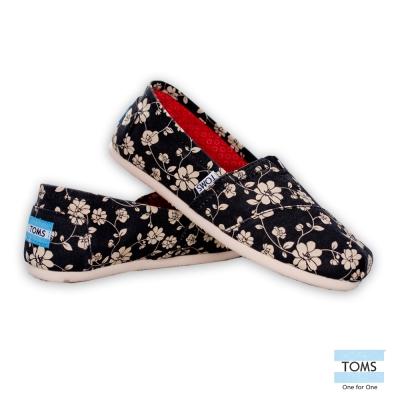TOMS 經典花朵懶人鞋-女款 (黑)