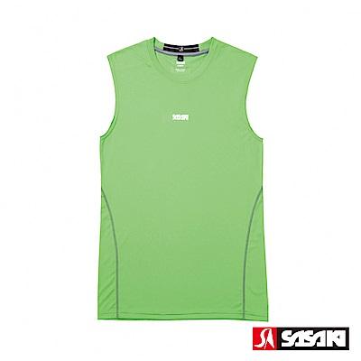 SASAKI 高彈力機能性運動緊身背心-男-艷綠/銀灰