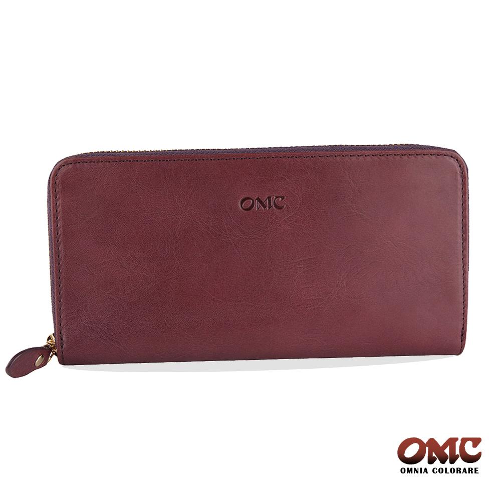 OMC 原皮系列-植鞣牛皮單拉鏈12卡透明窗雙隔層零錢長夾-紫色