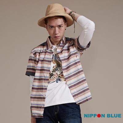 日本藍 BLUE WAY 日本藍復古風橫條紋短袖襯衫