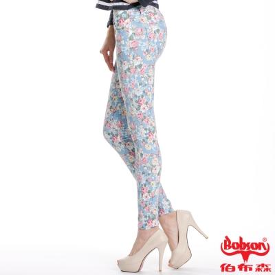 BOBSON 女款印花強彈力緊身褲(藍53)