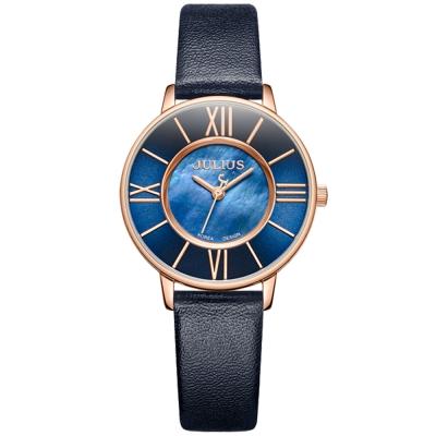 JULIUS聚利時 月光圓舞曲貝殼面皮錶帶腕錶-深藍/32mm