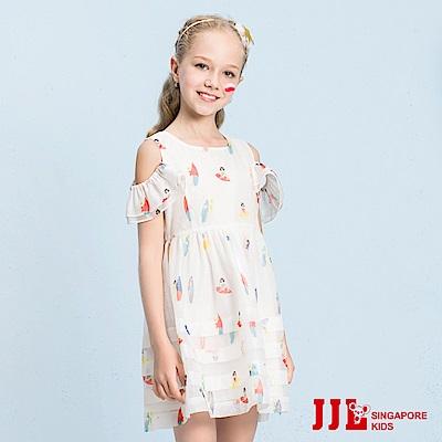 JJLKIDS 甜心女孩傘狀露肩縮腰洋裝(白色)