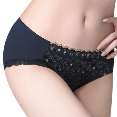 莎薇 大美人-親膚舒適-透氣包覆-M-3L中腰三角褲(深藍)