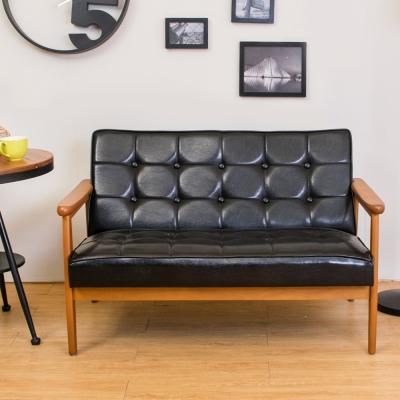 Boden 布蘭頓實木黑色皮沙發雙人椅/二人座