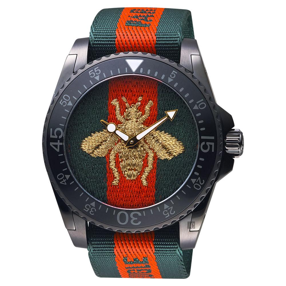 GUCCI 古馳 Dive 蜜蜂200米潛水錶-紅綠/45mm