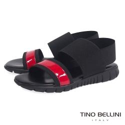 Tino Bellini 義大利進口時髦運動休閒繃帶平底涼鞋_黑+紅