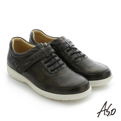A.S.O 3D超動能 真皮魔鬼氈奈米機能休閒鞋 黑色