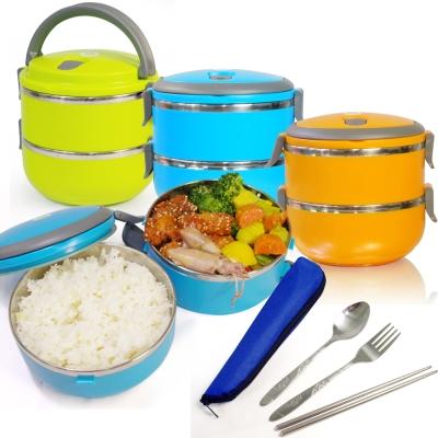 亮彩時尚馬卡龍保溫雙層便當盒(一入)+餐具組(一入)