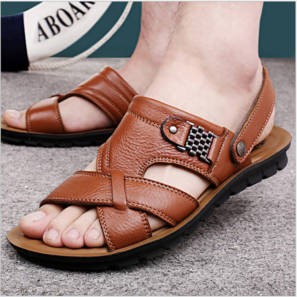 美國熊 透氣頭層牛皮 輕量舒適 海灘鞋 涼鞋 拖鞋