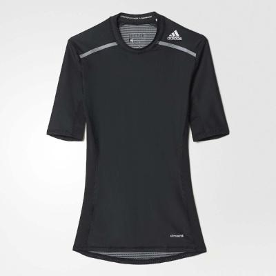 adidas Techfit Chill 緊身 短袖 男 黑銀