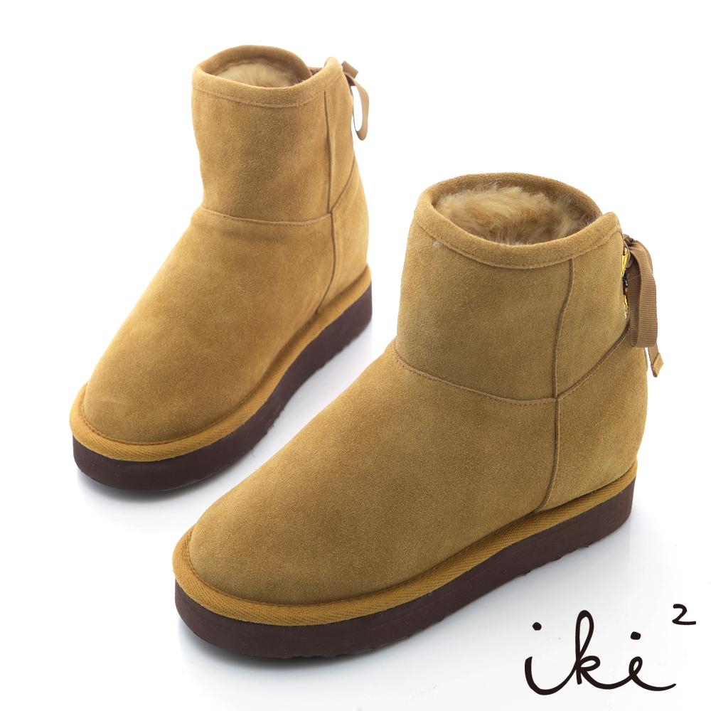 iki2機能雪靴系列-法式綁帶金綴飾雪靴-淺卡其