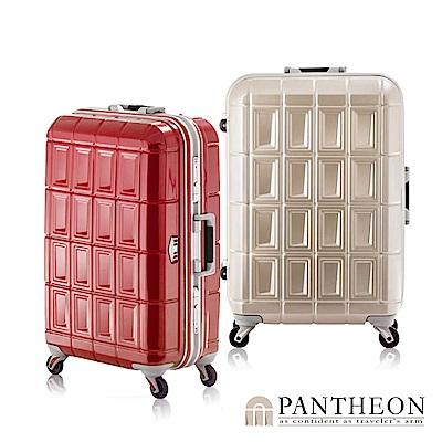 日本PANTHEON 28吋 霧面香檳金拉絲  網美行李箱 輕量鋁框登機箱
