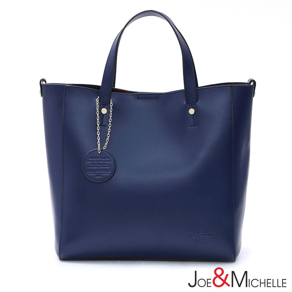 J&M 真皮畢諾亞極簡美學通勤包 幽靜藍