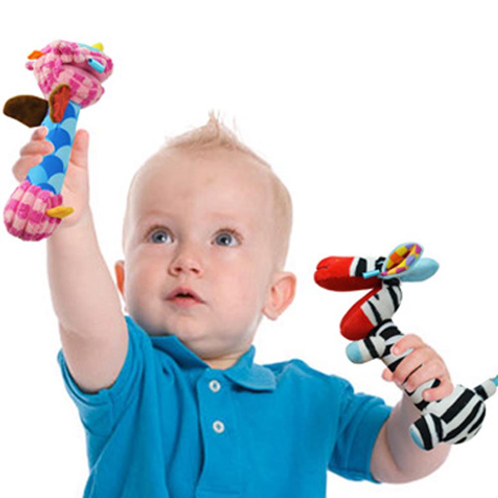 colorland【2入】嬰兒玩具 動物鏡面手搖棒