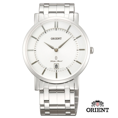 ORIENT 東方錶 SLIM系列 超薄簡約優雅藍寶石鏡面石英錶-白色/38mm